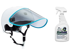 Bouclier visor and disinfectant