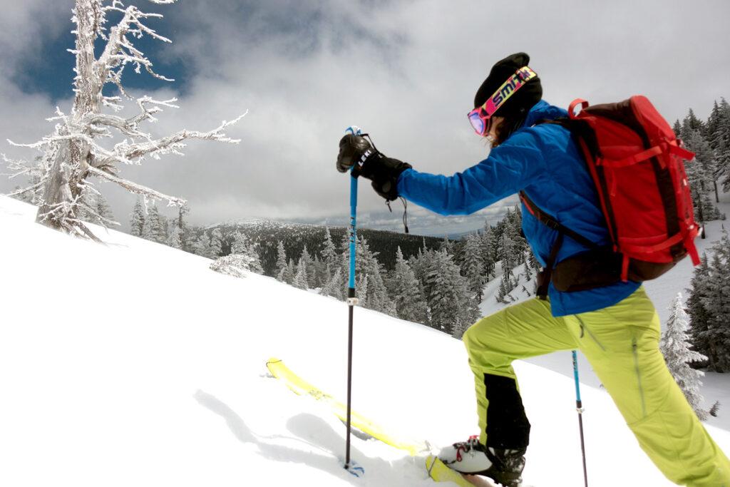 skier going uphill