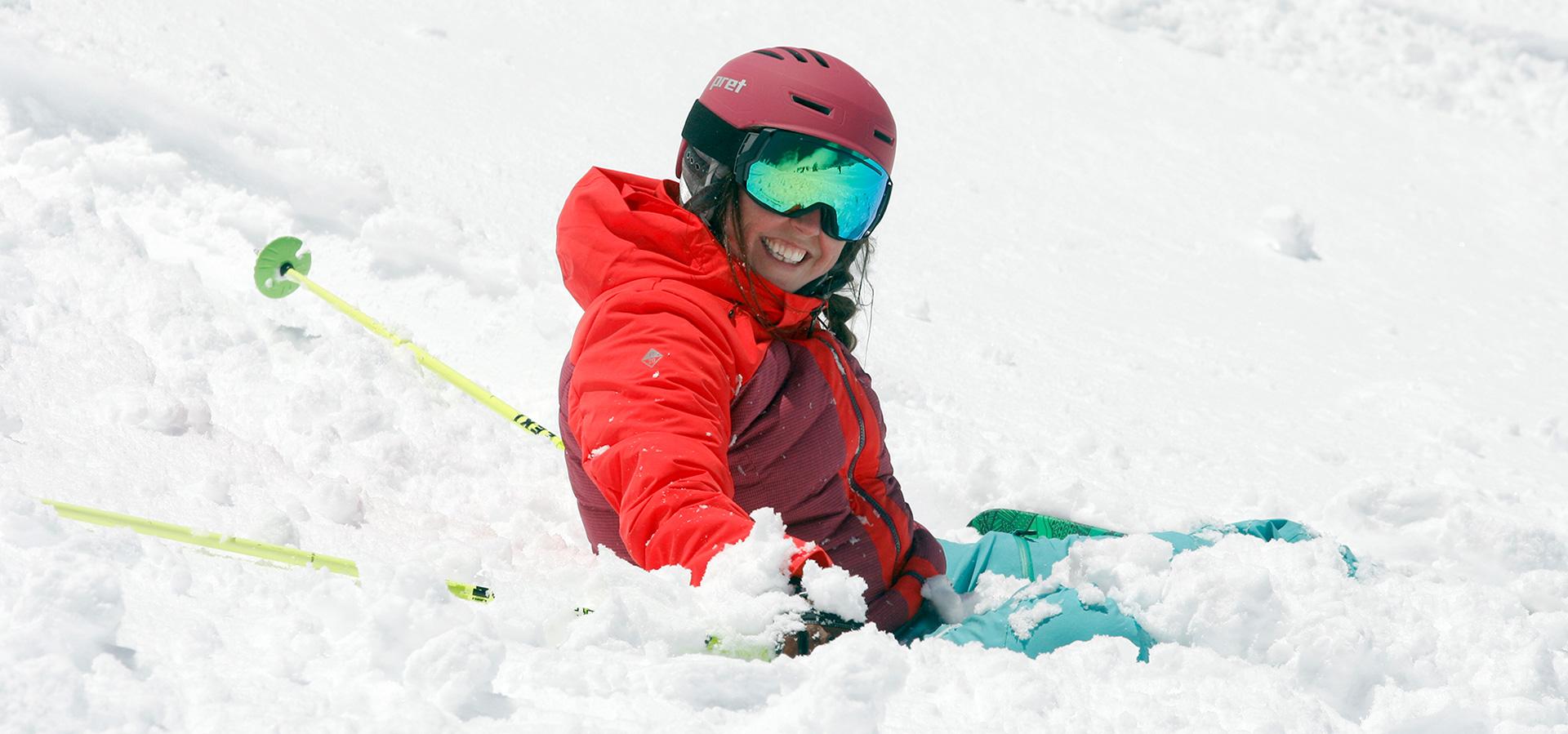 smiling beginner skier
